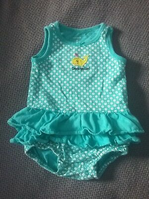 6 M Months Baby Girl Carters Polka Dot Whale Beach Dress One Piece Outfit Summer