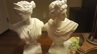 Candsrea-Japan-Pair of Roman/Grecian Busts-Male/Female-Hand Painted-Vintage-NICE