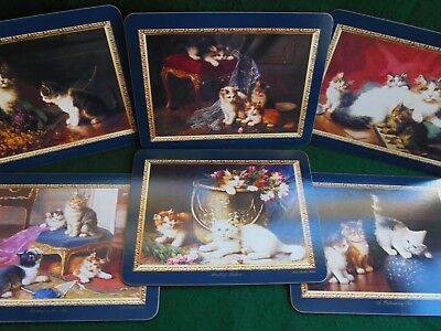 Set 6 Table Place Mats Huber Cats And Kittens Victorian Cat Paintings Like New