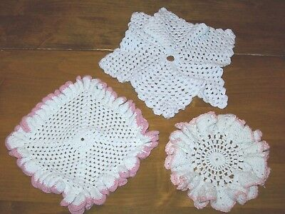 Lot of 3 Vintage Cotton Crocheted Doilies-Square, Round and Star Shaped