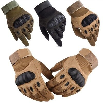 Tactical Hard Knuckle Full Finger Gloves - Army Military Combat Hunting Shooting