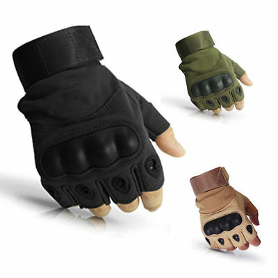 Tactical Heavy Duty Mechanics Work Gloves Covert Knuckle Protection Fingerless