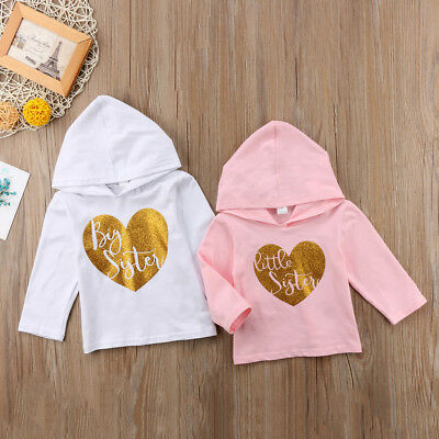 Toddler Kid Baby Girl Sister Matching Clothes Hooded Hoodie Tops T-shirt Shirt B