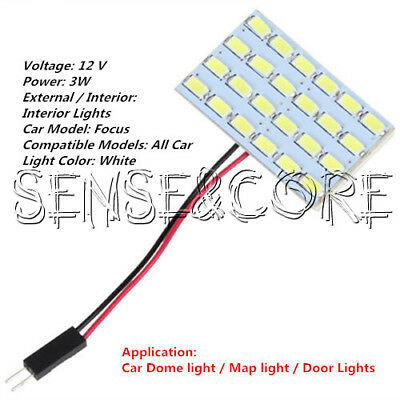 24x 5730 SMD LED Light Panel Board Car Interior Dome Reading Lamp Light 12V 3W