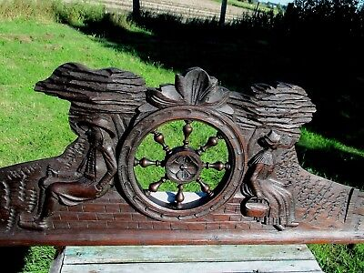 Breton Gorgeous Hand Carved Wooden Pediment Over Door Ornamental Architectural