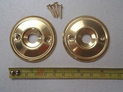 2 x 52 mm DIAMETER ANTIQUE STYLE BRASS DOOR KNOB BACK PLATE / ROSES / RIM LOCK