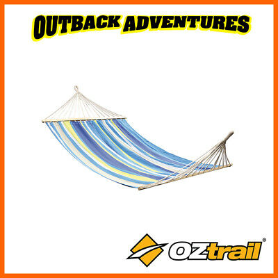 OZTRAIL DOUBLE ANYWHERE HAMMOCK WITH TIMBER RAILS CAMP BEDDING RELAX 200kg LIMIT