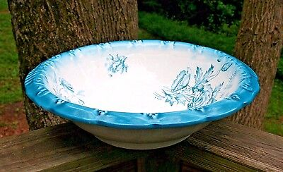 Antique Victorian Knowles Porcelain Wash Basin ~ Ivory with Blue Rim & Poppies
