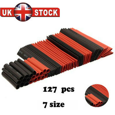 127Pcs 7 Size Mix Heat Shrink Sleeve Electrical Cable Tube Tubing Wrap Wire UK