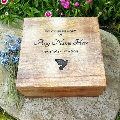 Wooden Funeral Cremation Urn For Human Ashes Mango Wood Lasered Cremation Box