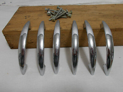 "6 Vintage Retro Chrome Metal Drawer Pull Handle Mid Century 1950's 4-1/8""  3"""