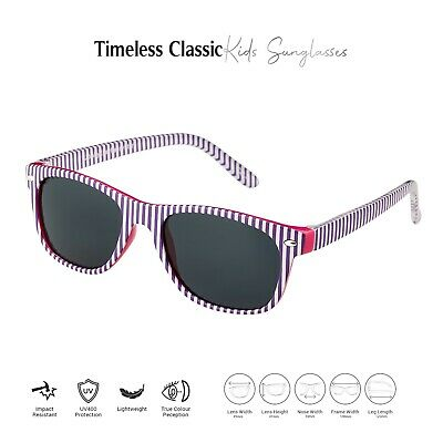 Purple Striped Kids Childrens Sunglasses Classic Girls Boys Fashion Glasses UK