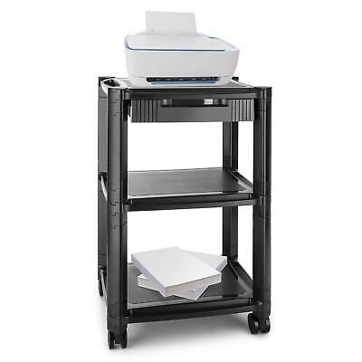 Auna P-Stand Printer-Roller Table with drawer media carrier 3 storage black