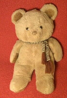 "Vintage 14"" TAN BROWN BEAR W/ STRIPED SCARF EARS SQUEAK! plush stuffed animal"