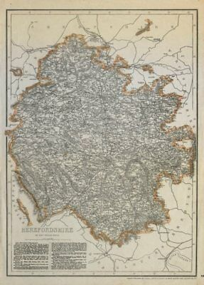 HEREFORDSHIRE. Antique county map. Showing exclaves & railways. WELLER c1865