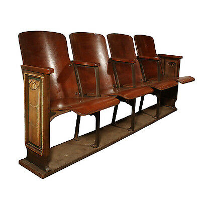 Reclaimed Antique Art Deco Theatre Seats, c.1920s, NMI76