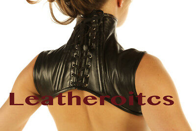 Real Leather Extreme Shoulder Corset Hals Korsett Harness Binder