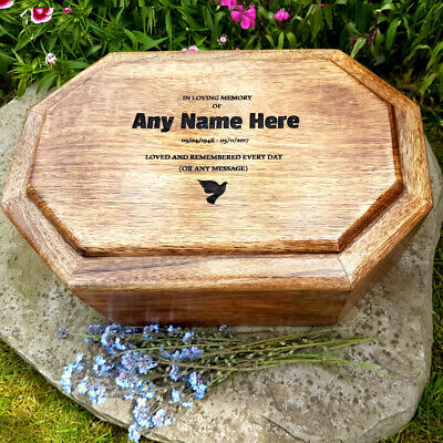 Medium Large Mango Wooden Adult Human Urn For Ashes Personalised Cremation Box