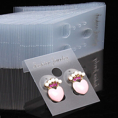 100XClear Professional Type Plastic Earring  Studs Holder Display Hang Cards VN