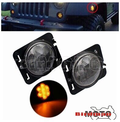 Car Amber LED Front Fender Turn Signals Light Side Lamp For Jeep Wrangler 07-17