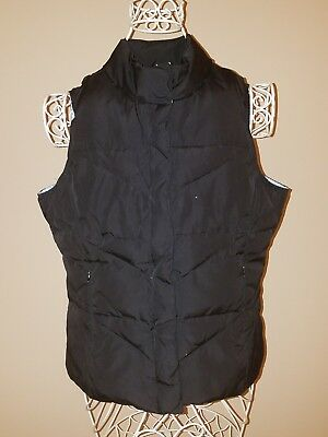 LADY FOOT LOCKER SPORT VEST SIZE M Black and Baby Blue PUFFY Zips Up Pockets