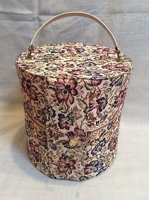 Mid Century Stylish Tall Hat Wig Box 60s 70s Floral Tapestry Gold Zipper Vintage
