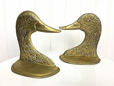 Vintage Brass Mallard Duck Head Paperweight Door Stop Bookend Pair 5""