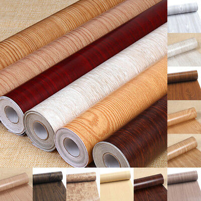 10M Bedroom Wall Wood Grain Mural Decal PVC Self-Adhesive Wallpaper Film Sticker