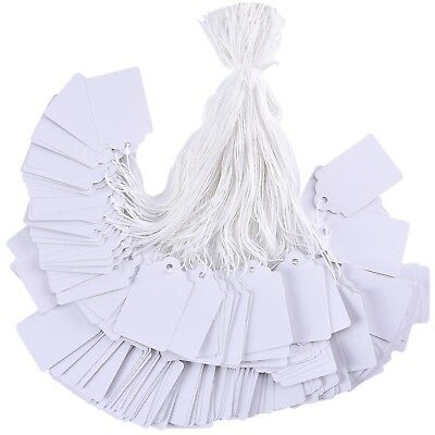White Tags String Marking Strung Display Label 1.75 x 1.093 Inch, 1000 Pieces