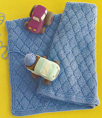 Argyle Stitch Baby Blanket Throw Knitting Pattern In Chunky Yarn By Email (1042)