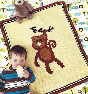 Baby Blanket Throw Monkey Motif Chunky Knit Knitting Pattern By Email (181)