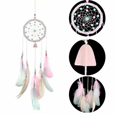 Pendant Wind Chimes Car Ornaments Dream Catcher Pink Feather Wall Hangings
