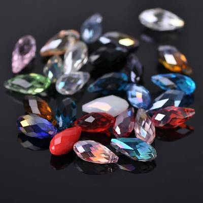 20pcs 16X8mm Big Teardrop Faceted Crystal Glass Loose Spacer Beads Pendant DIY