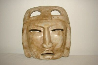 Hand Carved Polished Stone Face Mask Mexican Aztec South American Jungle Decor'