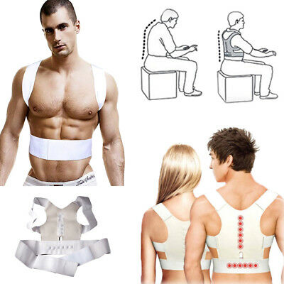 Power Magnetic Adjustable Back Shoulder Support Brace Belt Posture Corrector UK