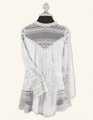 Victorian Trading Co NWOT Amelie Lace Button Back Lace Blouse White S/M