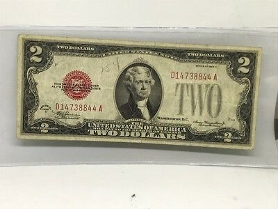 1928 D  $2 United States Note with Red Seal, UNGRADED