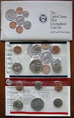 1992 US Mint P & D Uncirculated Coin Set
