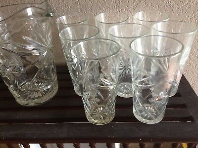 "Set of 8 EAPC Tea Tumbler 6"" Glasses with Pitcher, Star of David, Anchor Hocking"