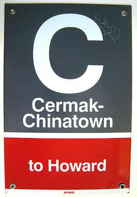 Retired Chicago Elevated Subway Train Station Metal Sign Cermak Chinatown Howard