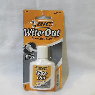 Lot of 3 BIC Wite-Out Correction Fluid Quick Dry Foam Brush White Out