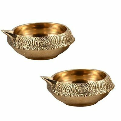 Figo Inc Set of 2 Handmade Indian Puja Brass Oil Lamp - Diya Lamp Engraved Des