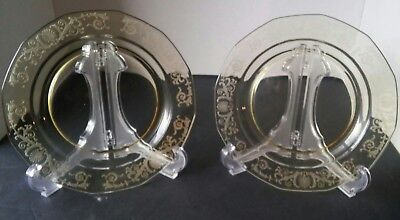 Vintage Fostoria Crystal set of 2 VERSAILLES TOPAZ Etched Yellow Salad Plates