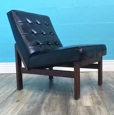 Stunning Retro Very Stylish Mid Century Afromosia And Vinyl Cocktail Chair