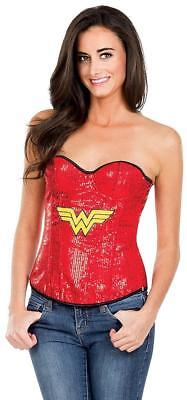 Wonder Woman Sequin Corset DC Comics Superhero Fancy Dress Halloween Costume