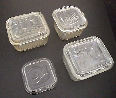 Lot of 3 Vintage Clear Ribbed Glass Refrigerator Dish Container Embossed Lid