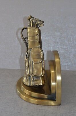 Sarsaparilla Brass Metal Golf Bag Club Bookend Golfing Deco Style Vtg Only One