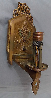 Antique Cast Metal Wall Sconce Architectural Fixture Patina Gold Tone/ Green