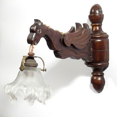 VintageFrench Wooden Sconce, Gargoyle, Frosted Glass Shade