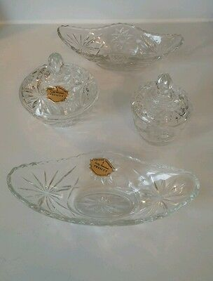 EAPC Anchor Hocking Star Of David Pattern Candy Dish, Sugar Bowl And Two Dishes